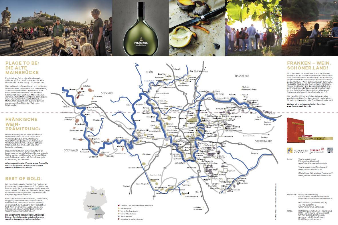 Neue Faltbroschüre des Weinabaugebiets Franken, der Silvaner Heimat seit 1659